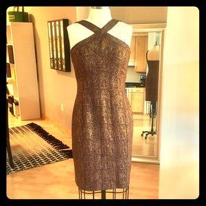 David Meister Copper Shimmer Formal Dress